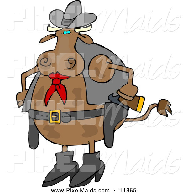 Clipart of a Brown Cowboy Cow with Two Holstered Pistols