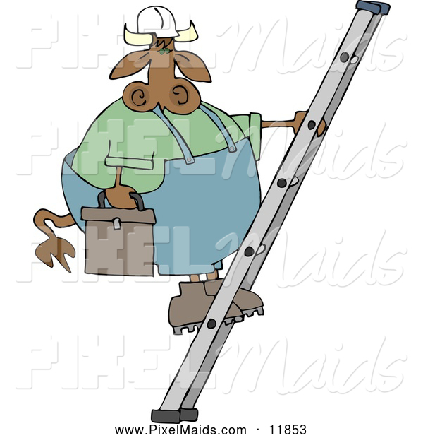 Clipart of a Brown Repairman Cow Climbing up a Ladder with a Toolbox