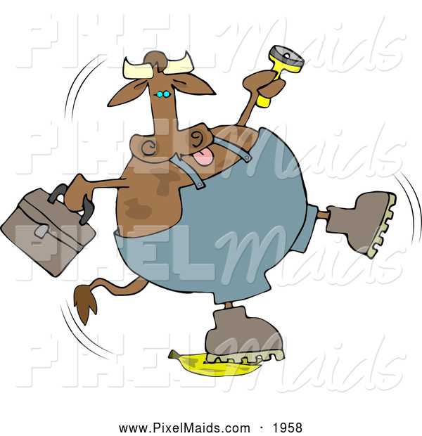 Clipart of a Brown Repairman Cow Slipping on a Banana