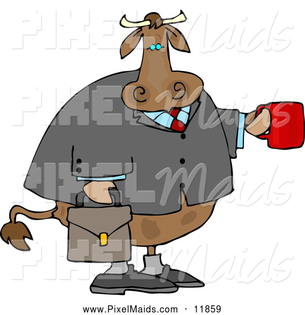 Clipart of a BrownBusiness Cow Carrying a Briefcase and Holding a Cup of Coffee