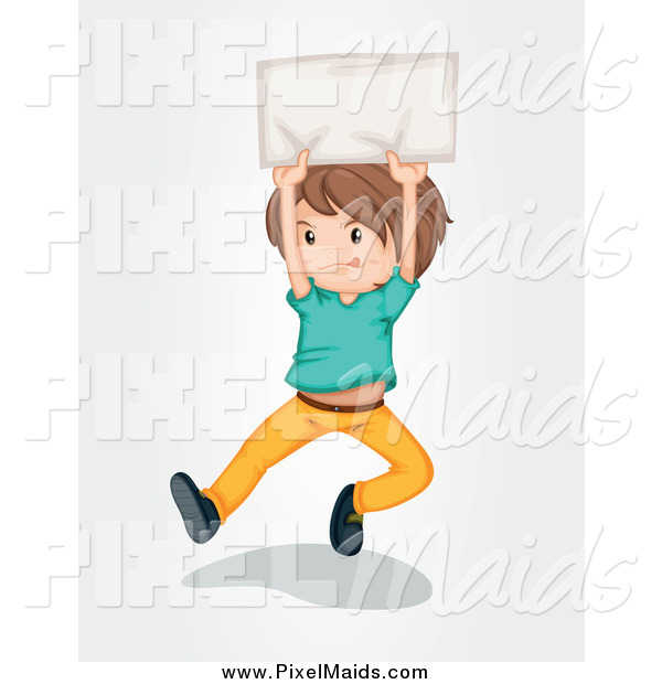 Clipart of a Brunette White Boy Jumping with a Sign
