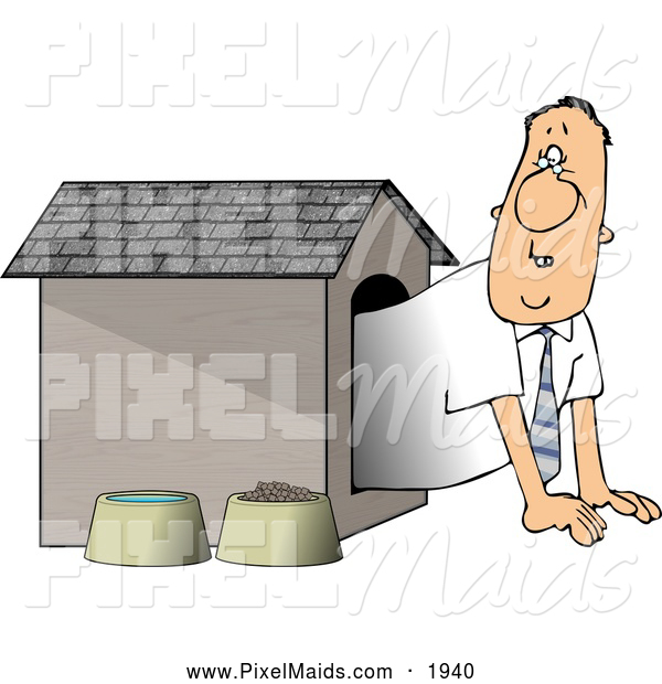 Clipart of a Businessman Put in the Doghouse