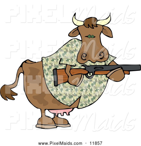 Clipart of a Camouflaged Cow Holding a Hunting Rifle, Hunting for People
