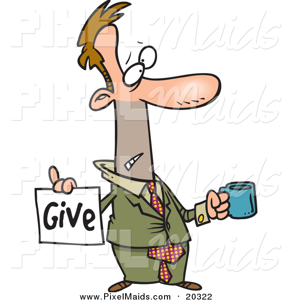 Clipart of a Cartoon Broke White Businessman Holding a Cup and Give Sign
