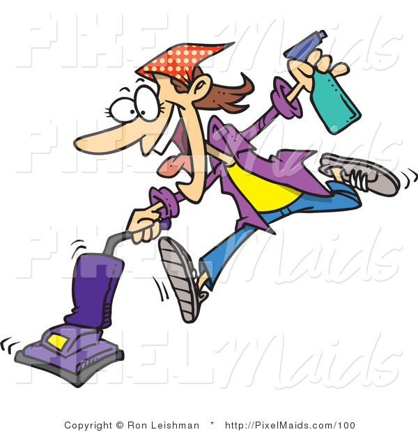 Clipart of a Cartoon Crazy Spring Cleaning Woman Vacuuming