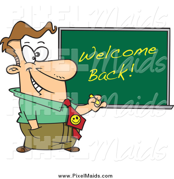 Clipart of a Cartoon Happy White Male Teacher Writing Welcome Back on a Board