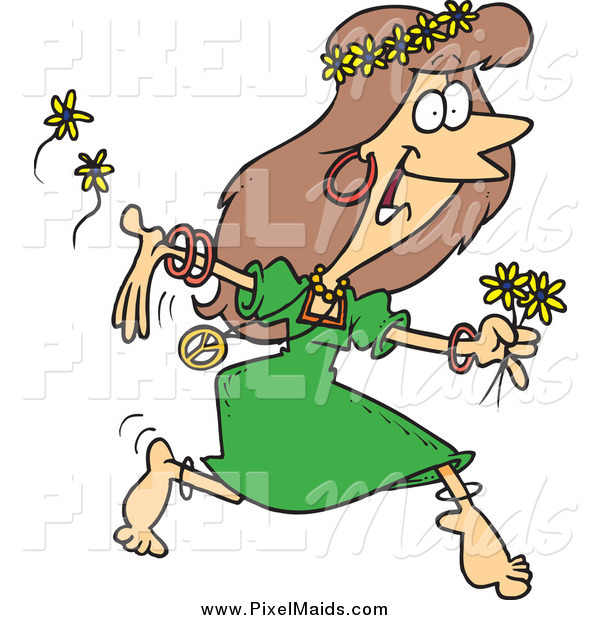 Clipart of a Cartoon Hippie Lady Running with Flowers