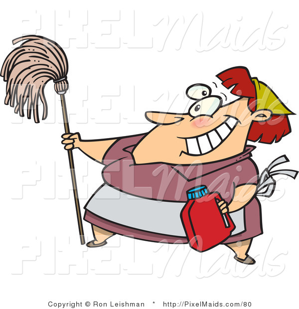 Clipart of a Cartoon Housekeeper Woman Cleaning