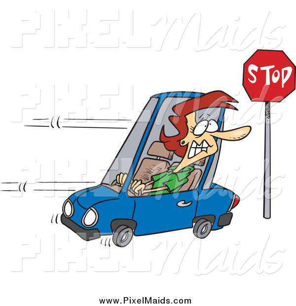 Clipart of a Cartoon Red Haired Woman Running a Stop Sign