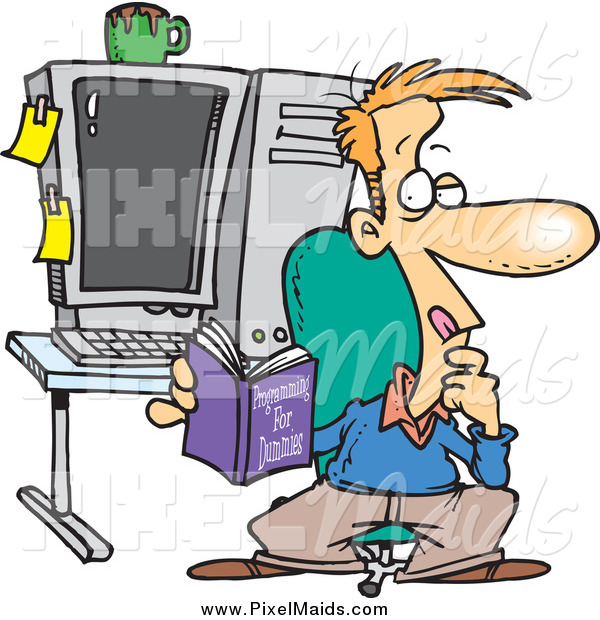 Clipart of a Cartoon Thinking White Male Computer Programmer Reading a Book in His Office