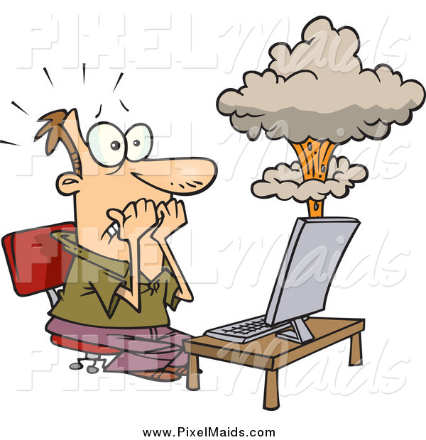 Clipart of a Cartoon White Man's Laptop Having a Meltdown