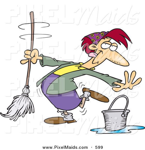 Clipart of a Cartoon Woman Dancing While Mopping a Dirty Floor