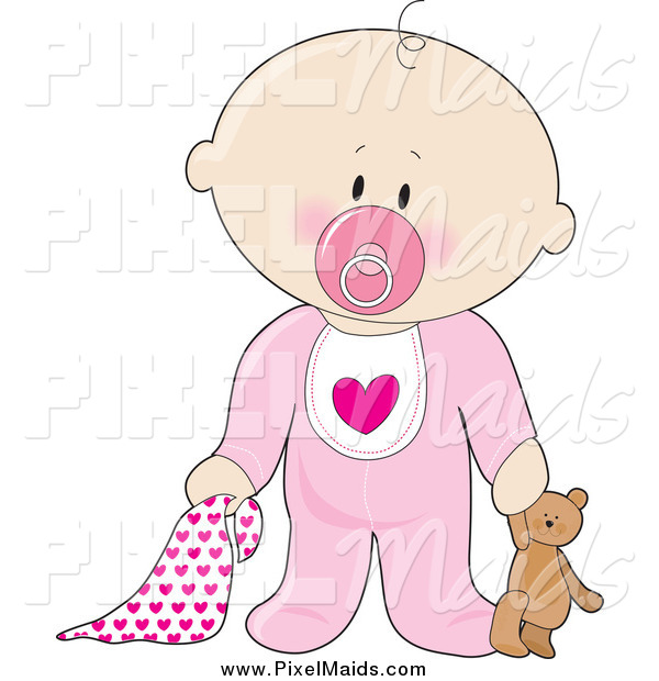 Clipart of a Caucasian Baby Girl with a Teddy Bear, Pacifier and Blanket