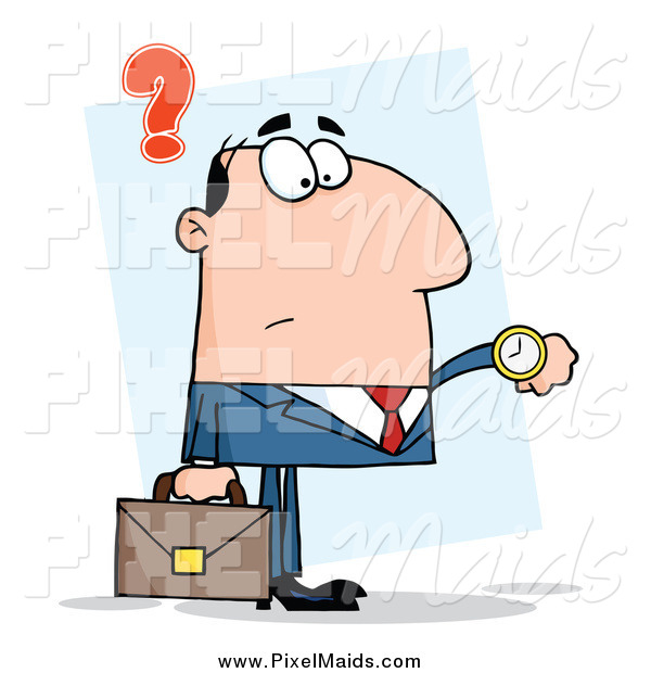 Clipart of a Caucasian Businessman Checking His Watch