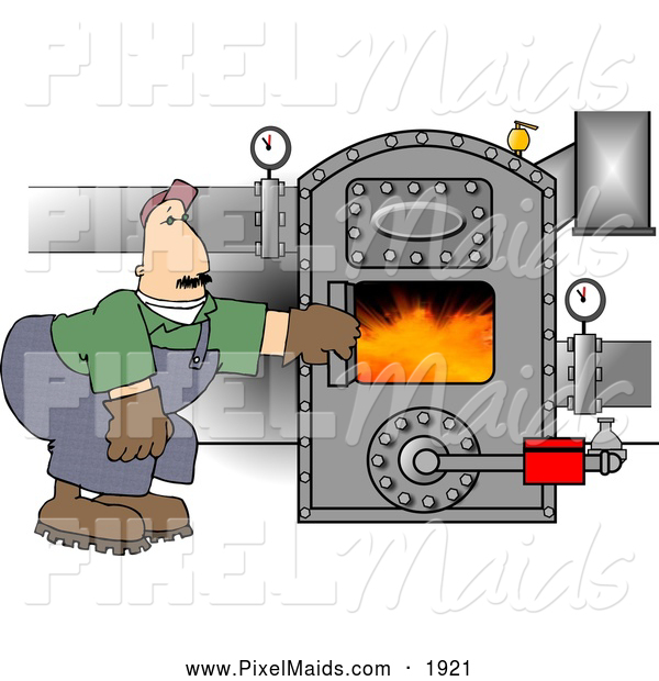 Clipart of a Caucasian Man Working on a Hot Boiler with Valves