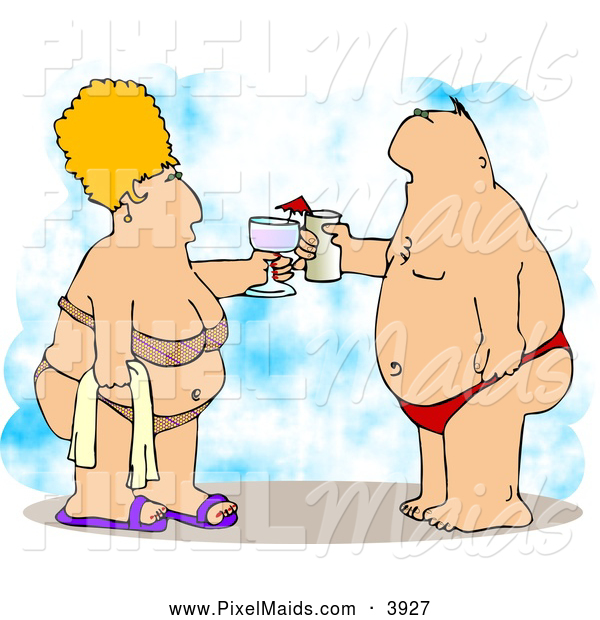 Clipart of a Caucasian Obese Husband and Wife Vacationing at the Beach