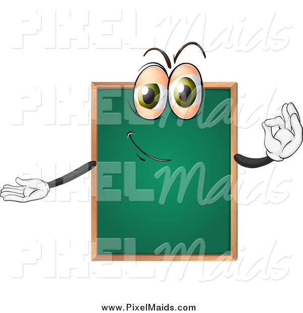 Clipart of a Chalkboard Character Gesturing Ok