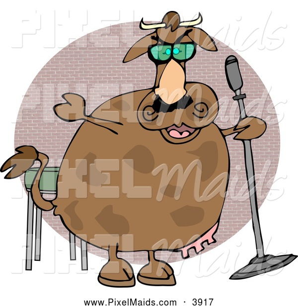 Clipart of a Cheerful Cow Doing Stand-up Comedy