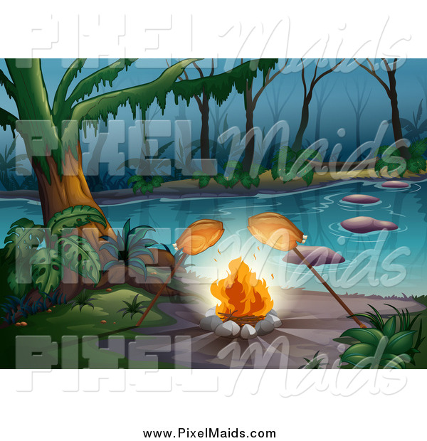 Clipart of a Chickens Roasting over a Campfire on a Foggy River