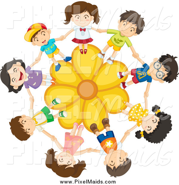 Clipart of a Children Holding Hands on a Yellow Daisy Flower