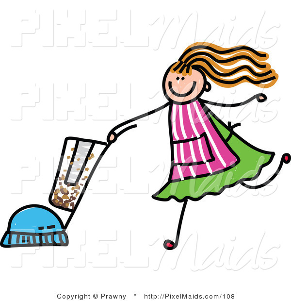 Clipart of a Children's Sketch of a Girl Vacuuming