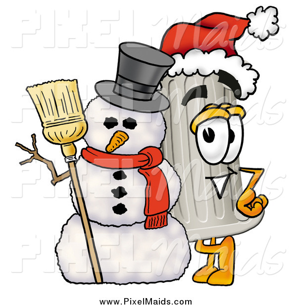 Clipart of a Christmas Pillar Mascot with a Snowman