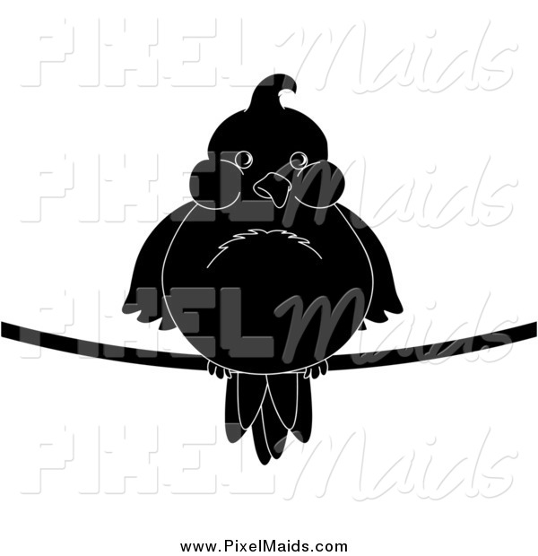 Clipart of a Chubby Black and White Silhouetted Bird on a Wire