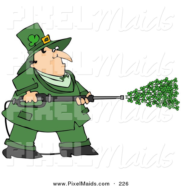 Clipart of a Chubby Irish Leprechaun in Green, Spraying Clovers from a Power Washer on St Patrick's Day