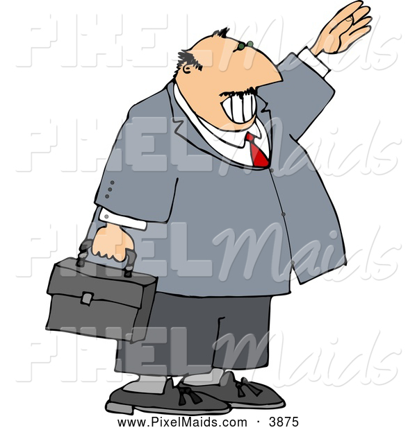 Clipart of a Chubby Smiling Businessman Waving Hello or Goodbye