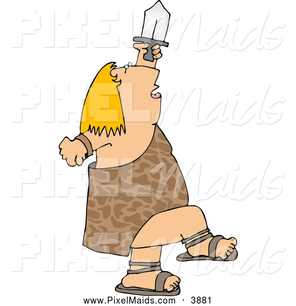 Clipart of a Chubby Warrior Dancing with Sword