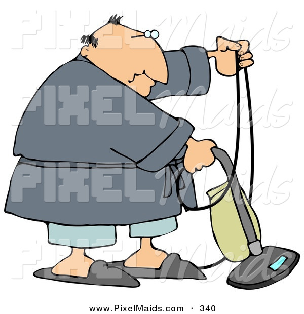 Clipart of a Chubby White Man in a Robe, Pjs and Slippers, Using a Vacuum to Clean His Carpet in His Home