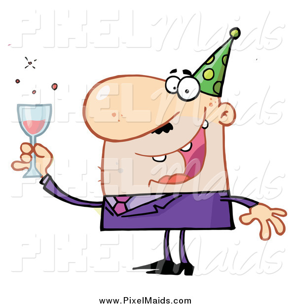 Clipart of a Chubby White Man Toasting at a New Years Party