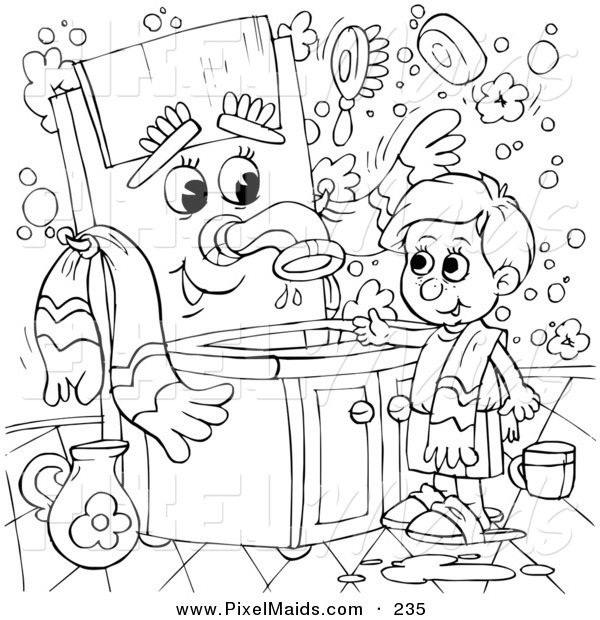 Clipart of a Coloring Page Outline Design of a Boy Talking to a Sink