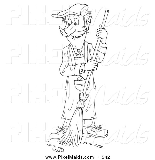 Clipart of a Coloring Page Outline of a Janitor Man Sweeping a Floor