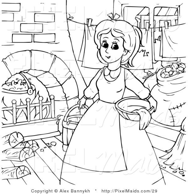 Clipart of a Coloring Page Outline of Cinderella Doing Chores Around the House