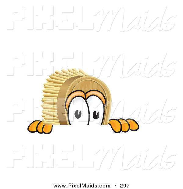 Clipart of a Curious Scrub Brush Mascot Cartoon Character Peeking over a Surface