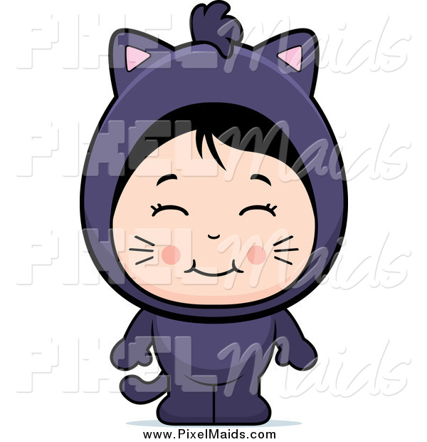 Clipart of a Cute Asian Girl in a Black Cat Costume