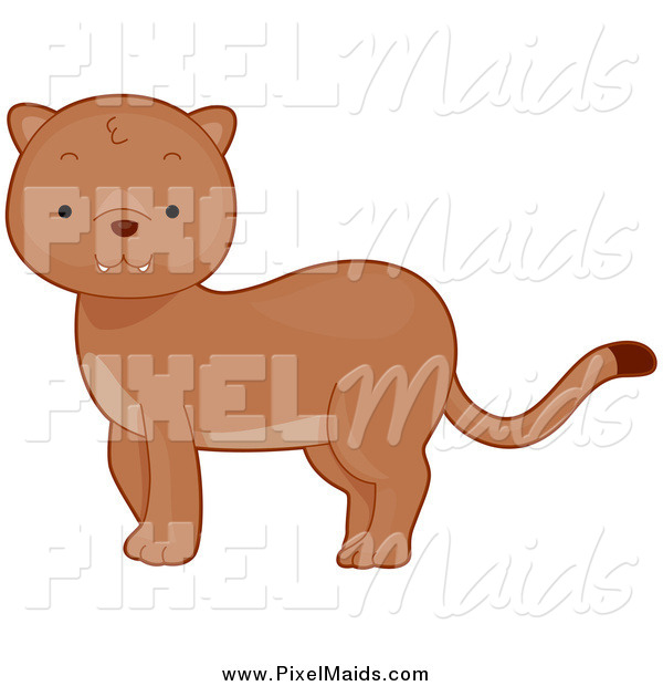 Clipart of a Cute Baby Puma