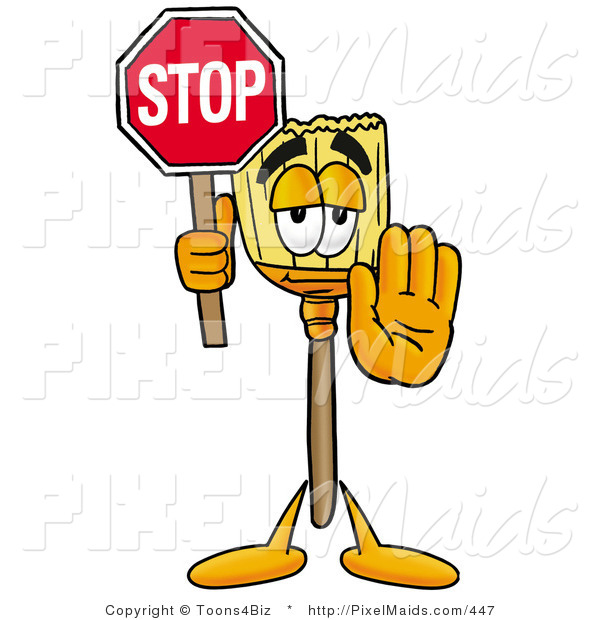 Clipart of a Cute Broom Mascot Cartoon Character Holding a Stop Sign