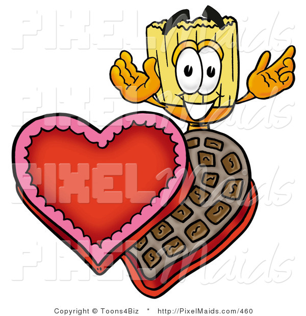 Clipart of a Cute Broom Mascot Cartoon Character with an Open Box of Valentines Day Chocolate Candies
