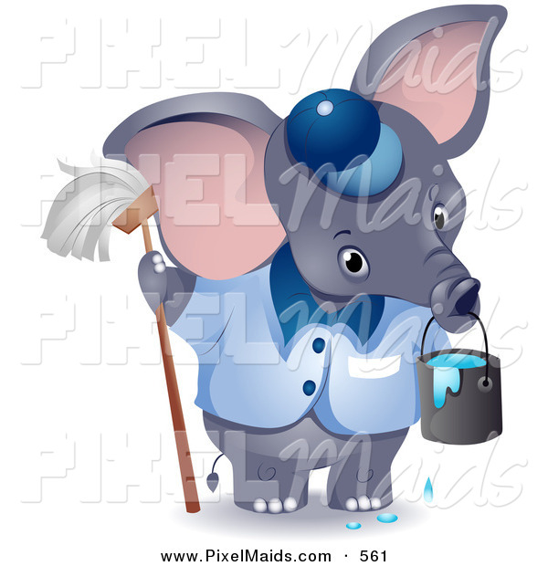Clipart of a Cute Gray Janitor Elephant with a Mop and Bucket