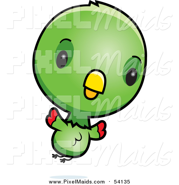 Clipart of a Cute Green Baby Parrot Flying