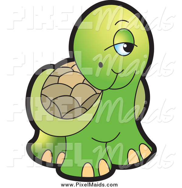 Clipart of a Cute Shy Tortoise