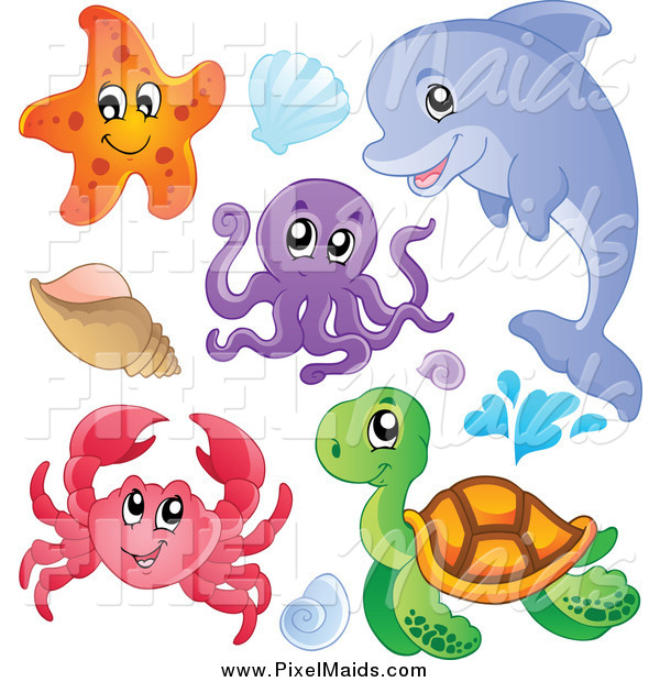 Clipart of a Cute Starfish Dolphin Octopus Crab Sea Turtle and Sea Shells