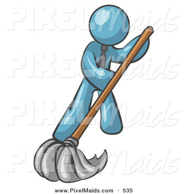 Clipart of a Denim Blue Businessman Wearing a Tie, Mopping a Hard Floor to Clean up a Mess or Spill
