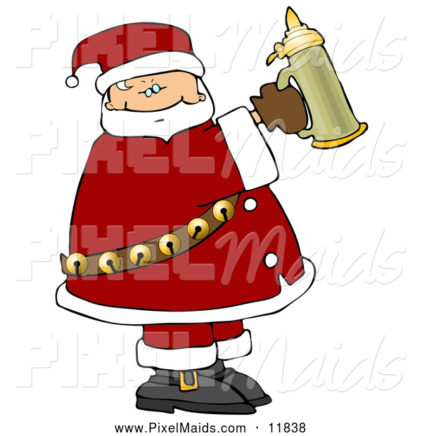 Clipart of a Depressed Santa Holding a Beer Stein