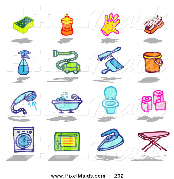 Clipart of a Digital Set of a Sponge, Soap, Glove, Brush, Spray Bottle, Vacuum, Dust Pan, Bucket, Shower, Bath, Toilet, Toilet Paper, Washing Machine, Oven, Iron, Ironing Board