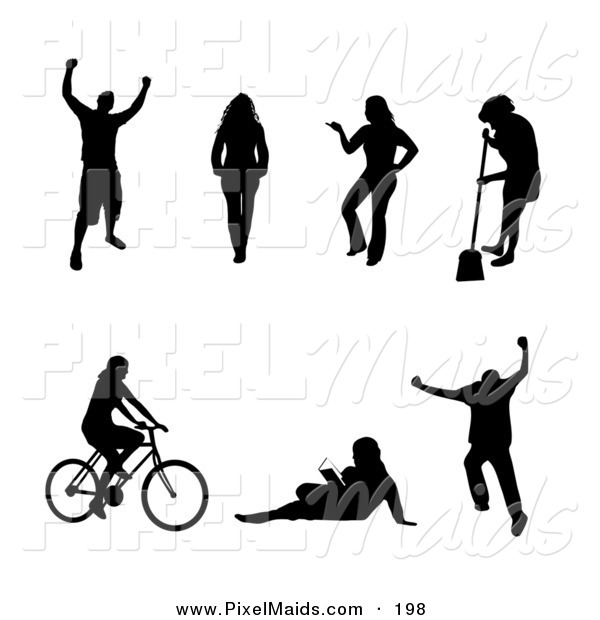Clipart of a Digital Set of Black Victorious, Walking, Posing, Sweeping, Cycling, Reading and Jumping People Silhouettes
