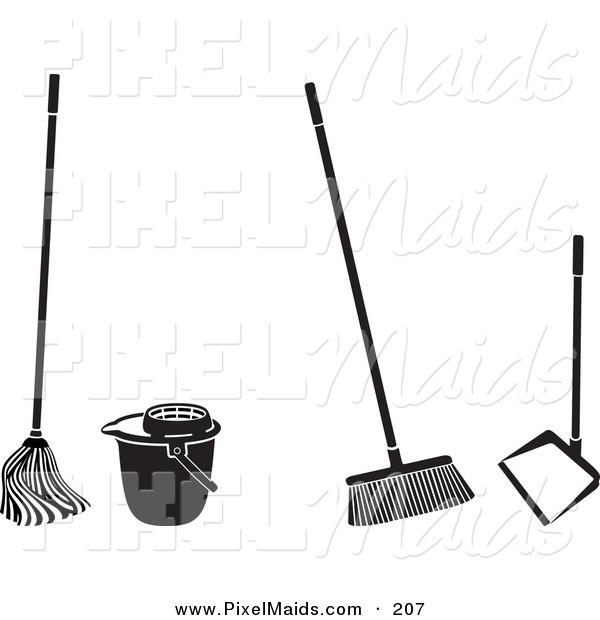 Clipart of a Digital Set of Cleaning Tools