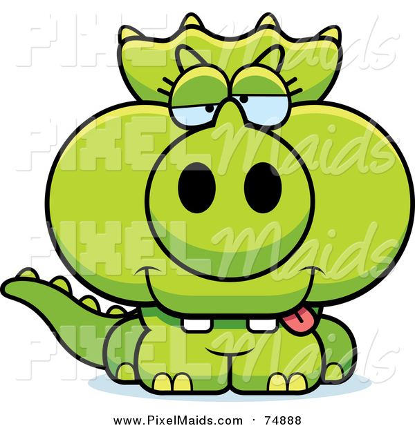 Clipart of a Drunk Green Baby Triceratops Dinosaur